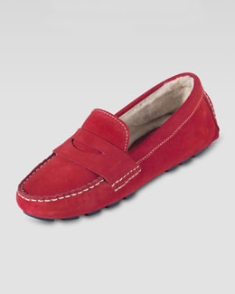 Cole Haan Sadie Shearling-Lined Driver, Tango Red