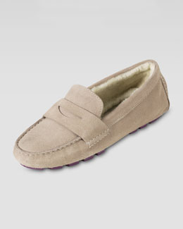 Cole Haan Sadie Shearling-Lined Driver, Maple Sugar