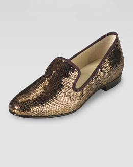 Cole Haan Sabrina Sequin Smoking Slipper, Bronze
