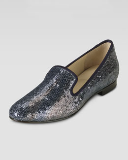 Cole Haan Sabrina Sequin Smoking Slipper, Smoke