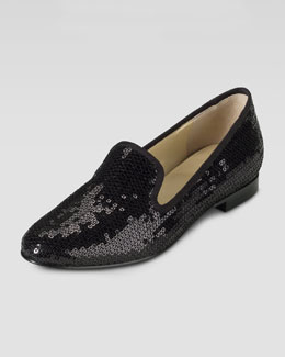 Cole Haan Sabrina Sequin Smoking Slipper, Black
