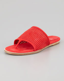 Eileen Fisher Perforated Leather Thong Sandal, Red