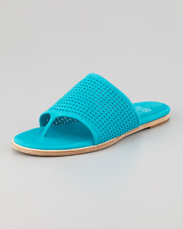 Eileen Fisher Perforated Leather Thong Sandal, Turquoise
