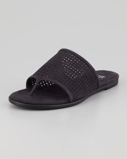 Eileen Fisher Perforated Leather Thong Sandal, Black
