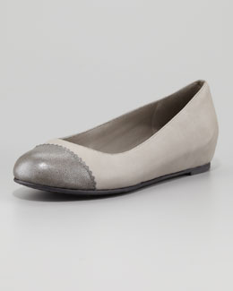 Eileen Fisher Cap-Toe Internal-Wedge Ballerina Flat, Silver