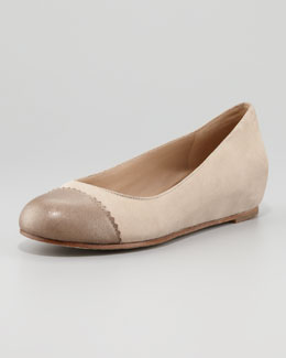 Eileen Fisher Cap-Toe Internal-Wedge Ballerina Flat, Bronze