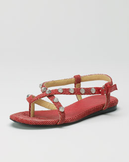 Balenciaga Crisscross Cotton Canvas Flat Sandal