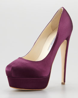 Brian Atwood Hamper Satin Platform Pump, Purple