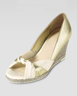 Cole Haan Ava Open-Toe Wedge Pump, Platino