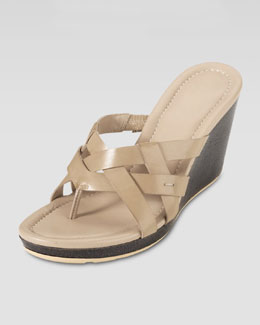 Cole Haan Bonnie Strappy Wedge Thong Sandal, Sandstone