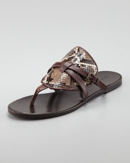 Belstaff Flat Python-Leather Thong Sandal, Dusty Brown