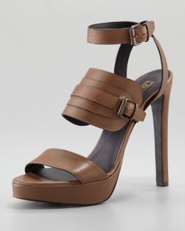 Belstaff Ankle-Wrap Leather Sandal, Tan