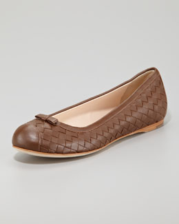Bottega Veneta Woven Leather Ballerina Flat, Dark Brown