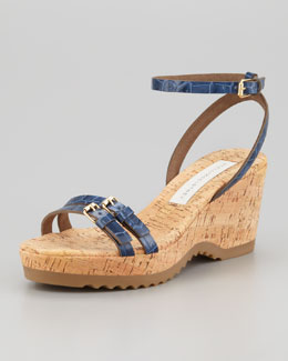 Stella McCartney Faux-Crocodile Cork Ankle-Wrap Wedge, Navy