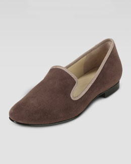 Cole Haan Sabrina Suede Smoking Slipper, Chestnut/Maple