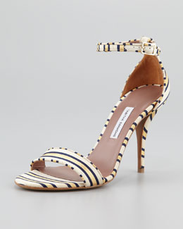 Tabitha Simmons Popy Necktie-Striped Sandal, Gold/Navy