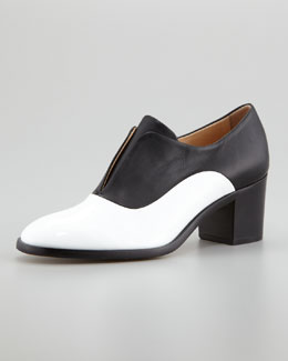 Reed Krakoff Patent/Napa Leather High-Heel Oxford, White/Black
