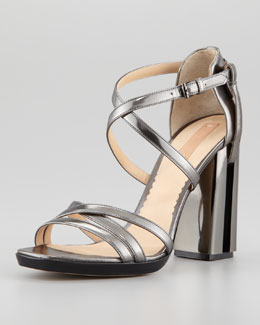 Reed Krakoff Metallic Crisscross Illusion-Heel Sandal, Gray