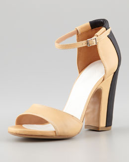 Maison Martin Margiela Trompe l'Oeil Leather Sandal, Cream/Black