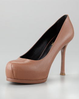 Saint Laurent Tribute Two Leather Pump, Nude