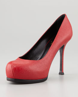 Saint Laurent Tribute Two Textured Platform Pump, Red