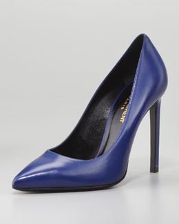 Saint Laurent Pointed-Toe Calfskin Pump, Blue