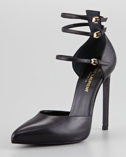 Saint Laurent Paris Triple Ankle-Strap Pump, Black