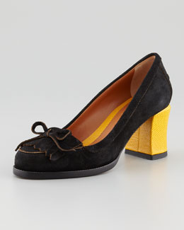 Fendi Austen Suede Loafer Pump