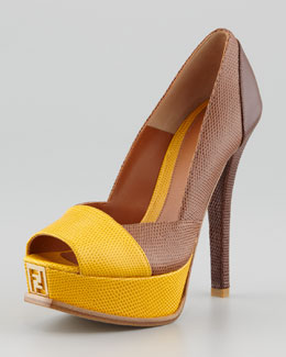 Fendi Fendista Colorblock Pump, Beige/Gold Tan