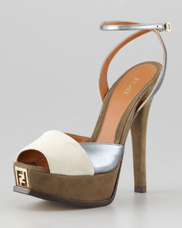 Fendi Fendista Colorblock Ankle-Wrap Sandal