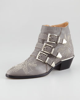 Chloe Triple-Buckle Bootie, Gray