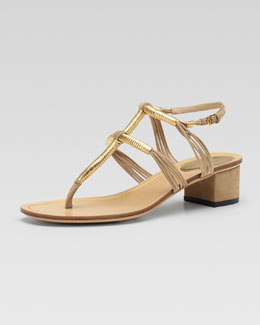 Gucci Low-Heel Thong Sandal, Cream