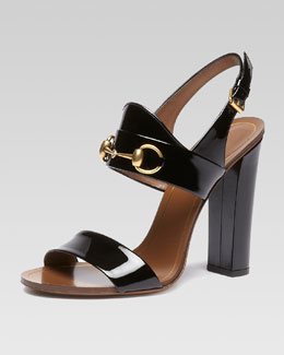 Gucci Patent Leather Horsebit Sandal, Black