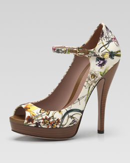 Gucci Floral Canvas Mary Jane Pump