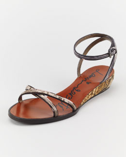 Lanvin Snake-Printed Cork Wedge Sandal