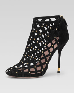 Gucci Studded Lattice Ankle Bootie, Black