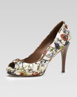 Gucci Floral Canvas Peep-Toe Pump