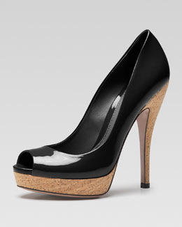 Gucci Lisbeth Patent Leather Open-Toe Pump