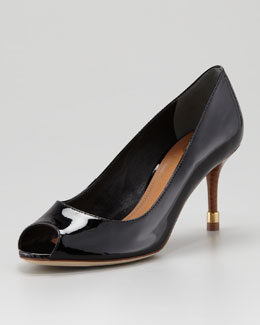 Tory Burch Rea Open-Toe Patent Pump, Black