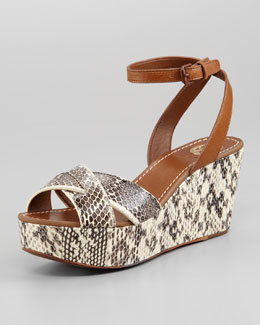 Tory Burch Cathleen Snake-Embossed Flatform Wedge Sandal