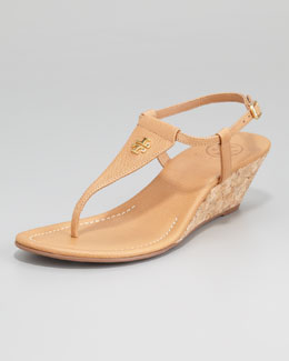 Tory Burch Britton Logo Wedge Thong, Royal Tan