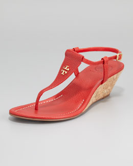 Tory Burch Britton Logo Thong Wedge, Tory Red