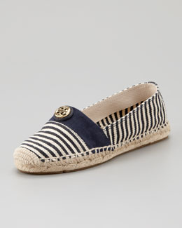 Tory Burch Beacher Canvas Logo Espadrille Flat, Natural/Navy