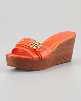 Tory Burch Elina Mid-Wedge Slide Sandal, Orange