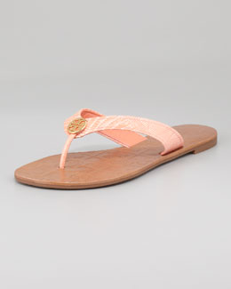 Tory Burch Thora 2 Lizard-Print Thong Sandal, Tart Orange