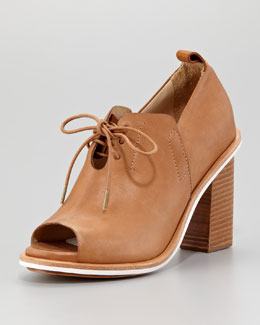 Rag & Bone Buckley Open-Toe Lace-Up Sandal Bootie, Tan
