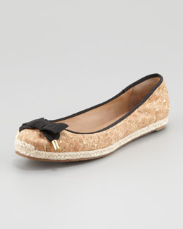 kate spade new york valarie cork ballerina flat, black