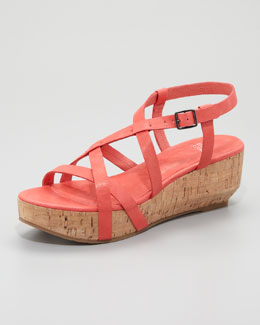 Eileen Fisher Array Cork Sandal, Peony Coral