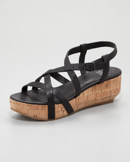 Eileen Fisher Array Cork Sandal, Black