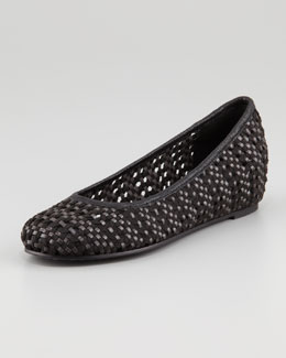 Eileen Fisher Sew Internal-Wedge Woven Ballerina Flat, Black